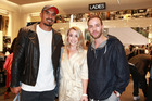 Jerome Kaino, Alysha Brown and Samuel Levi at the VIP launch of H&M. Photo / Norrie Montgomery