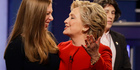 Democratic presidential nominee Hillary Clinton with daughter Chelsea after the presidential debate. Photo / AP