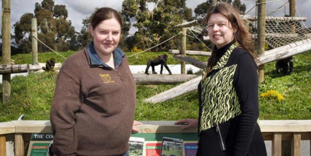 Orana Wildlife Park native fauna manager Alyssa Salton and chief executive Lynn Anderson at the Great Ape Centre. Photo / Christchurch Star