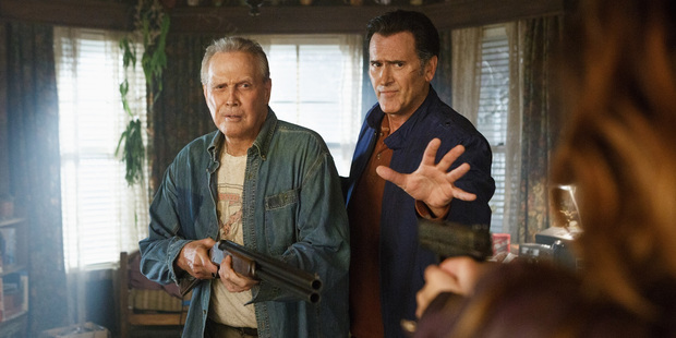 Lee Majors and Bruce Campbell in a scene from Ash vs Evil Dead.