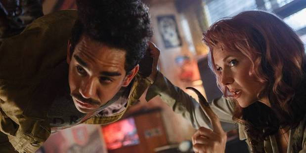 Ray Santiago and Lucy Lawless in season two of Ash vs Evil Dead.