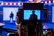A stand-in for Republican presidential candidate Donald Trump is seen in a television camera monitor as preparations for tomorrow's debate continue. Photo / AP