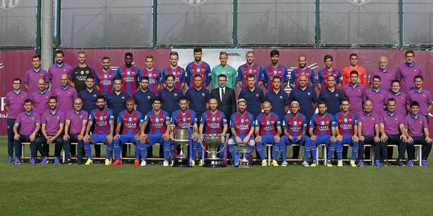 Barcelona FC seem to have more staff than players, and they want to show that to everyone in their latest team photo. Photo / Twitter - FC Barcelona