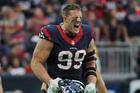 Houston Texans defensive end J.J. Watt celebrates after sacking Alex Smith. Photo / AP