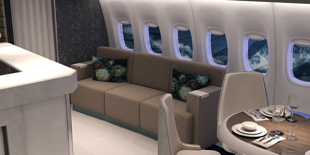 The jet features lots of social space - after gorging on a Michelin-star dinner, guests can recline on this couch. Photo / Supplied