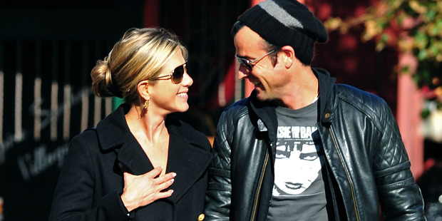 Jennifer Aniston and Justin Theroux walk in the West Village on September 18, 2011 in New York City. Photo / Getty