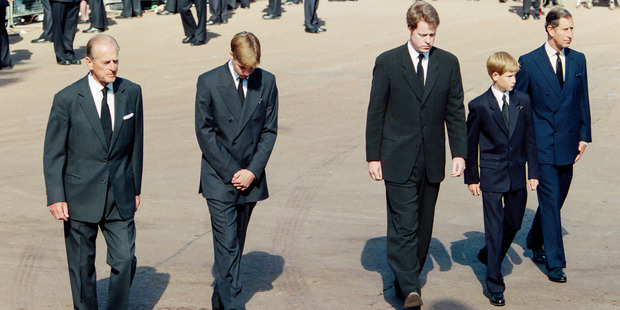 The Duke of Edinburgh, Prince William, Earl Spencer, Prince Harry, and Prince Charles at Diana's funeral. Photo / Getty Images