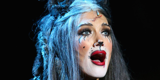 Delta Goodrem performs a scene from CATS during the CATS media call at Regent Theatre on December 18, 2015 in Melbourne, Australia. Photo / Getty