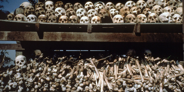 Racks of human skulls & bones of slaughtered Cambodians, a grisly reminder of the atrocities perpertrated by Pot Pol, of the Cambodian Khmer Rouge. Photo / Getty