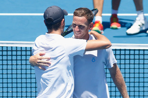 Michael Venus celebrates with doubles partner Mate Pavic. Photo / Getty Images