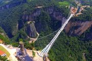 The 430m-long bridges is 300m over a valley in Zhangjiajie in China's Hunan Province. Photo / Getty Images