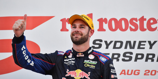 Shane Van Gisbergen celebrates after winning at the V8 Supercars Sydney SuperSprint. Photo / Getty Images