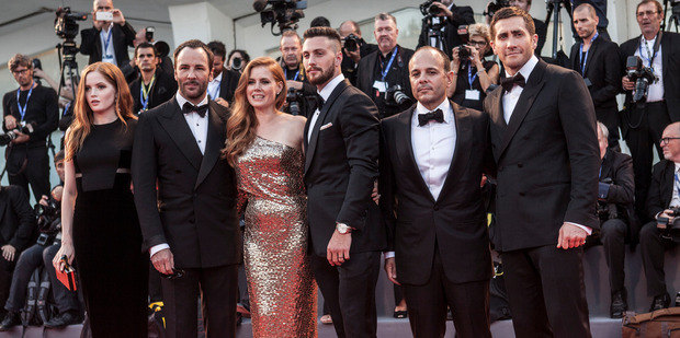 Ellie Bamber, Tom Ford, Amy Adams, Aaron Taylor-Johnson, Robert Salerno and Jake Gyllenhaal attend the premiere of Nocturnal Animals. Photo / Getty