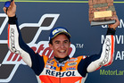 Marc Marquez celebrates the victory on the podium at the end of the MotoGP of Spain. Photo / Getty Images