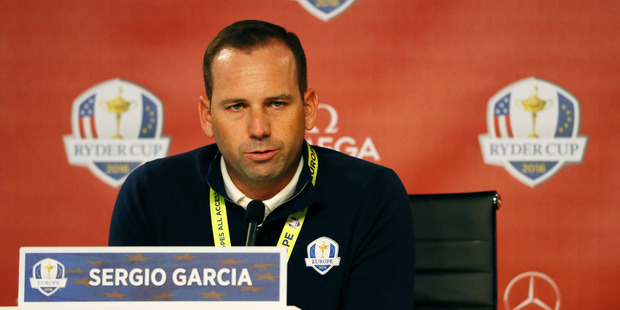 Sergio Garcia speaks during a press conference prior to the 2016 Ryder Cup. Photo / Getty Images
