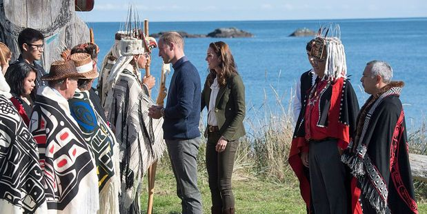 Prince Williamand the Duchess of Cambridge visit the island of Haida Gwaii. Photo / Getty Images