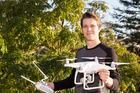 Photographer Sam Kynman-Cole with his Phantom 4 drone. Photo / topVIEW Photography