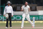 New Zealand's Mark Craig, right, celebrates the wicket of India's Virat Kohli. Photo / AP