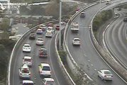 A crash on the link from the North Western to the Northern motorway northbound is causing delays. Photo/Auckland Transport Twitter