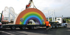 The Rainbow's End Theme Park rainbow has found a new home in Waihi after 30 years at the theme park.