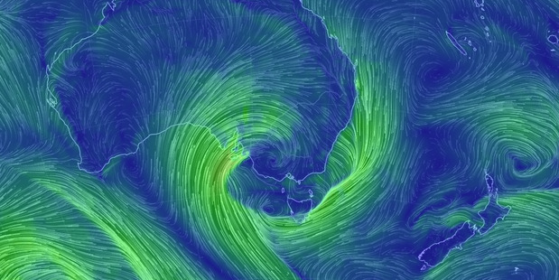 The worst weather in decades is about to batter even more of Australia. Photo / earth.nullschool.net