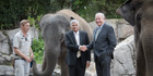 "Auckland Zoo's elephant team leader Andrew Coers, with Anjalee, Sri Lankan Prime Minister Ranil Wickremesing and Sir Donald ""Don"" McKinnon former Deputy Prime Minister and Minister of Foreig"