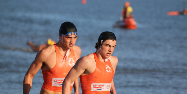 Junior Black Fins Hamish Miller and Daniel Barron from Mount Maunganui Lifesaving.