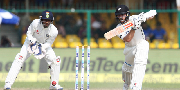 Kane Williamson Captain of New Zealand bats during the 3rd day of the first test match India against New Zealand in Kanpur, India. Photo / AP.
