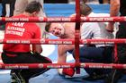 Joseph Parker beats Alexander Dimitrenko, who went down in the third round. Photo / www.photosport.co.nz