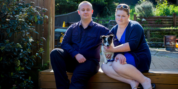 Shane Le Brun from Medical Cannabis Awareness NZ and his wife Kat who suffers chronic pain. Photo / Mike Scott.