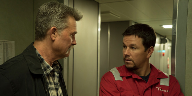 A scene from the film Deepwater Horizon starring Kurt Russell and Mark Wahlberg.