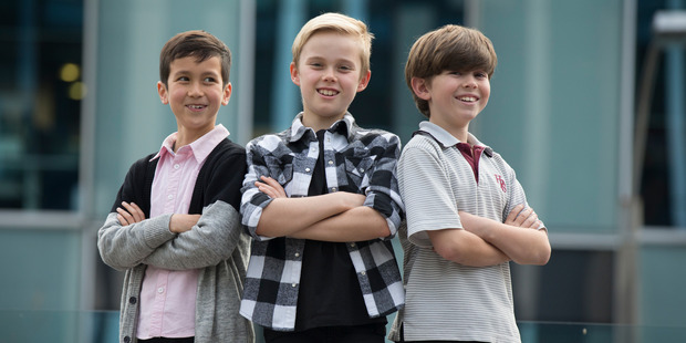 Lukas Maher, 9, Josh Rose, 11 and Quinn Bevan, 9, have been selected to appear in the upcoming play, Priscilla Queen of the Desert. Photo / Nick Reed