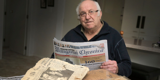 Peter Scott of Whanganui has found old copies of the Chronicle and wants to share them for the paper's 160th anniversary. photo Bevan Conley