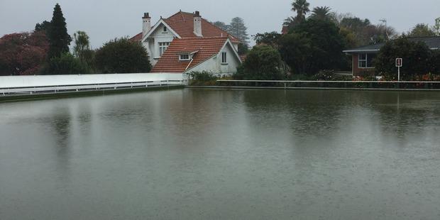 Heavy rain causes flooding at Mt Albert Bowling Club. Photo / Supplied via Lewis Nancekivel