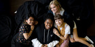 Marist College students Tiara Rico, 16, Perl Muzariri, 17, Amy Crerar, 18, and Jennifer Roackwell, 18, who are winners of the national slam spoken word poetry competition. Photo / Dean Purcell