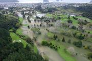 Whangamata's Titoki Golf Course under water following the weekend's rain. Photo / Supplied via Lesley Staniland - Coastal News