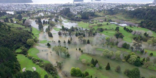 Loading Whangamata's Titoki Golf Course under water following the weekend's rain. Photo / Supplied via Lesley Staniland - Coastal News