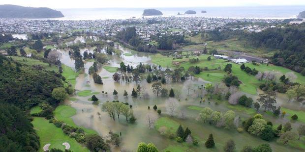 Loading Heavy rain transformed Whangamata's Titoki golf course into a sodden lake. Photo / Lesley Staniland