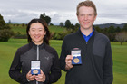North Island Amateur Stroke-play champions Rose Zheng and Jake Meerhorst.