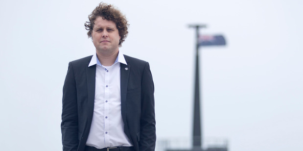 Loading Rocket Lab chief Peter Beck pictured in front of the launch tower at Rocket Lab's launch range. Photo / Alan Gibson