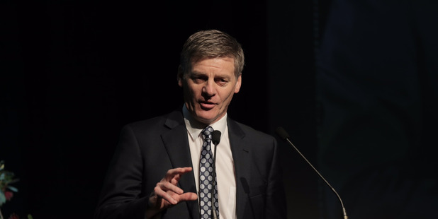 Bill English speaks at the Mood of the Boardroom event held at the Langham Hotel this morning. Photo / Michael Craig