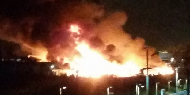 The scene of the blaze in Henderson, West Auckland. Photo / Facebook