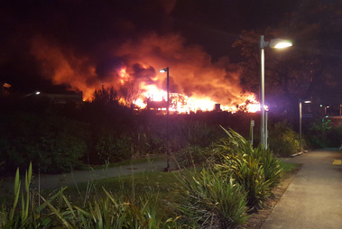 At its height 26 crews with more than 100 firefighters were at the Henderson blaze. Photo / Facebook