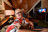 Dawn Dromgool watching the US presidential debate in her home near Katikati. PHOTO/GEORGE NOVAK