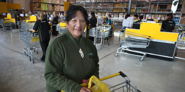 Patricia Ruawhare, 45, Parkvale, was one of the first people through the new Pak'nSave at The Crossings. Photo/John Borren
