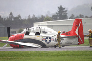 Emergency services respond to a warbird that had to crash land at Ardmore Airport after its landing gear failed. Photo / Nick Reed