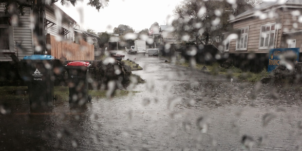 Flooding close to the Dress Smart outlet store in Onehunga. Photo / Rolando Cavieres