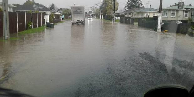 Loading Sheehan Ave in Papakura became a lake after heavy rain yesterday. Photo / Supplied via Daniel Weaver