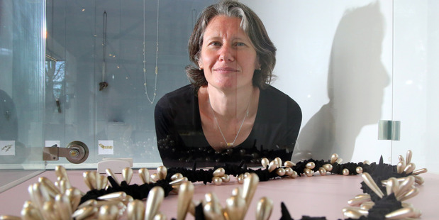 Jewellery Frances Stachl with her piece Pearl Spat Rope, made with pearls donated by Cate Orr. PHOTO/STUART MUNRO