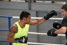 READY TO RUMBLE: Gunnar Jackson training with Chris Walker at TgaBox ahead of tonight's bout in Auckland. PHOTO/GEORGE NOVAK